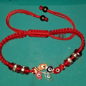 Red Bracelet with Colorful Evil Eyes